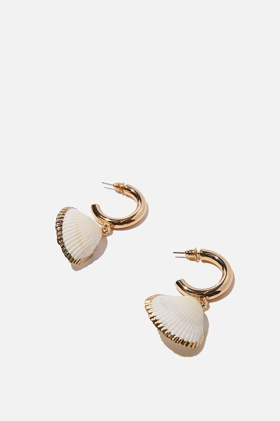 Holiday Statement Earring, NATURAL CLAM SHELL