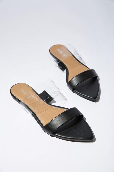 Pia Point Toe Slide, BLACK PU