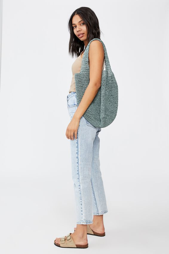 Pia Woven Slouch Tote, LUSH GREEN