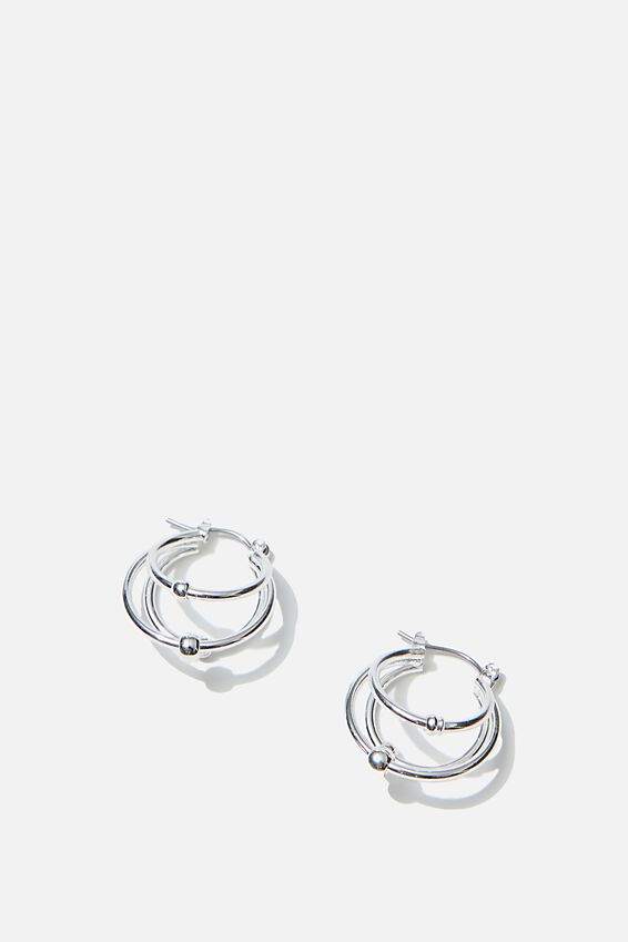Luxe Layers Small Triple Stack Hoop, SILVER