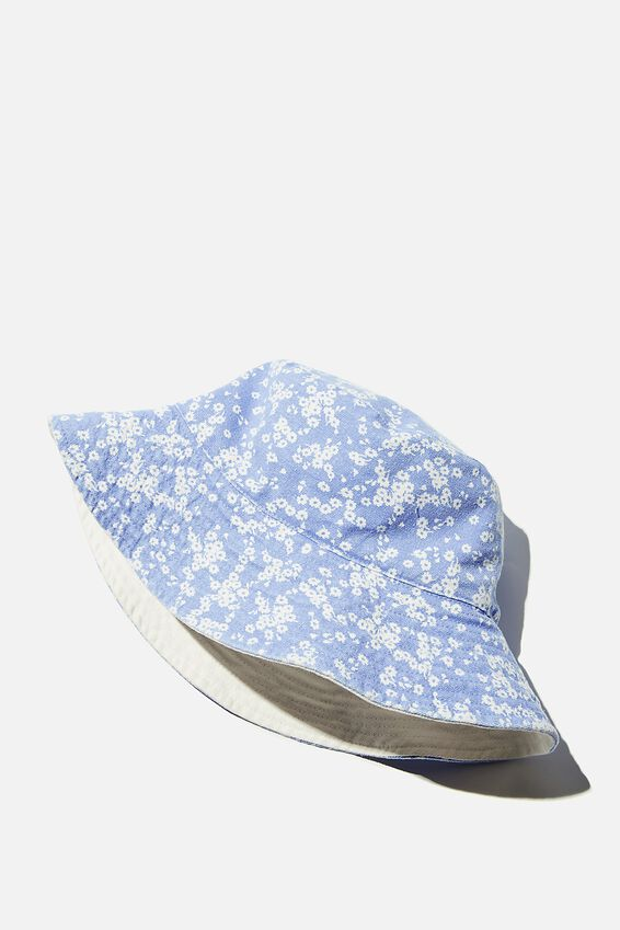 Elly Reversible Wide Brim Bucket Hat, BLUE LENA FLORAL