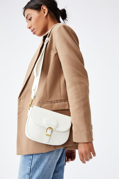 Blaire Buckle Cross Body Bag, WHITE