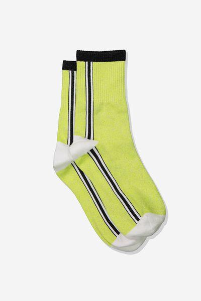 Fine Rib Sports Sock, GREEN GLOW SIDE STRIPE