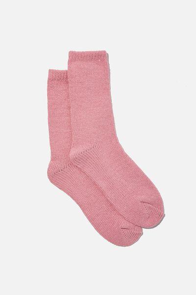 Chenille Cosy Sock, BLUSH
