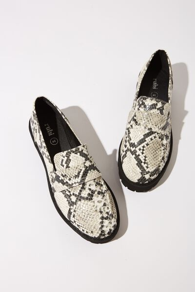 Captain Chunky Loafer, B/W NATURAL PRINT PU