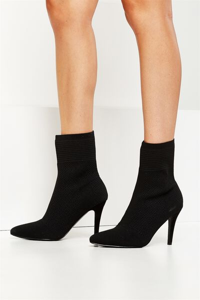 Clash Knit Point Boot, BLACK