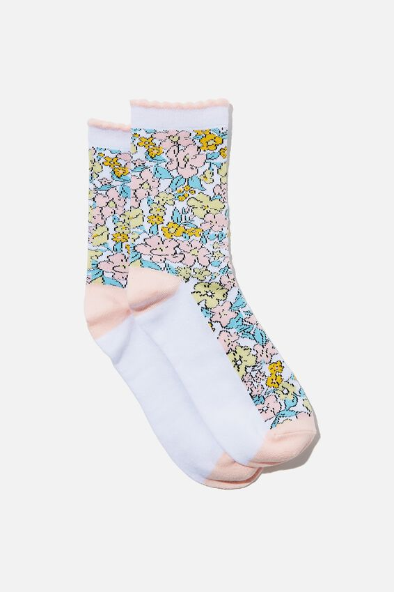 Carrie Crew Sock, MAGGIE MULTI FLORAL