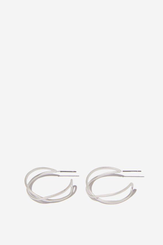 Classic Metal Earring, MATTE SILVER