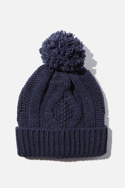 Heritage Knit Pom Pom Beanie, DARK GRISAILLE