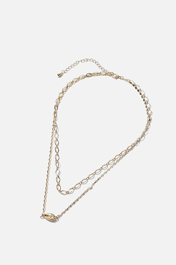 Luxe Layers Golden Shell Layered Necklace, GOLD