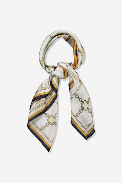 Fleur Large Satin Scarf, INCA GOLD AMOUR CHAIN