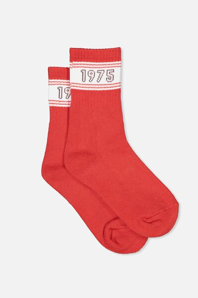 Sporty Stripe Crew Sock, RED/1975