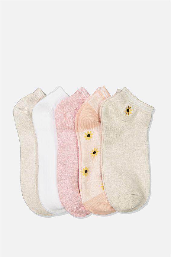 5Pk Ankle Sock, ROSE TAN SUNFLOWER