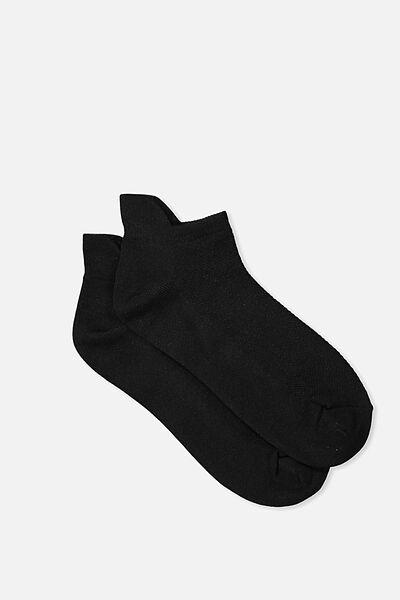 Mesh Ankle Tab Sock, BLACK