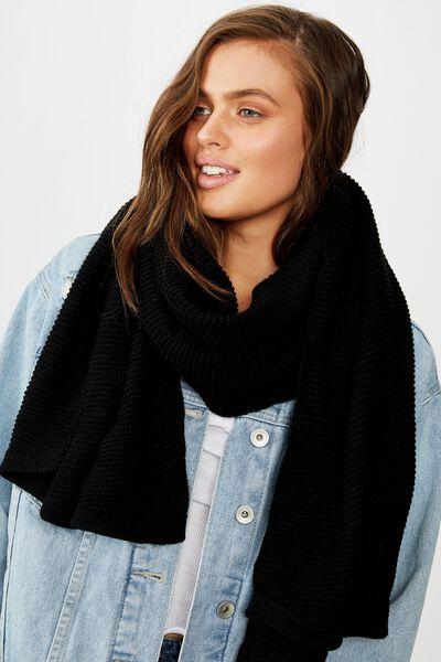Rebecca Rib Knit Scarf, BLACK