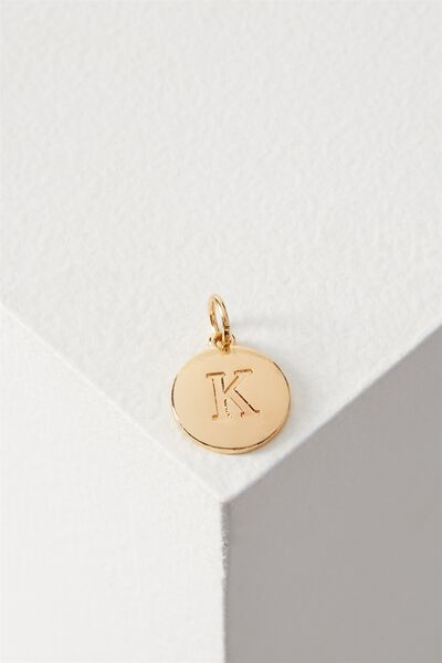 Letter Flat Pendant Charm, GOLD - K