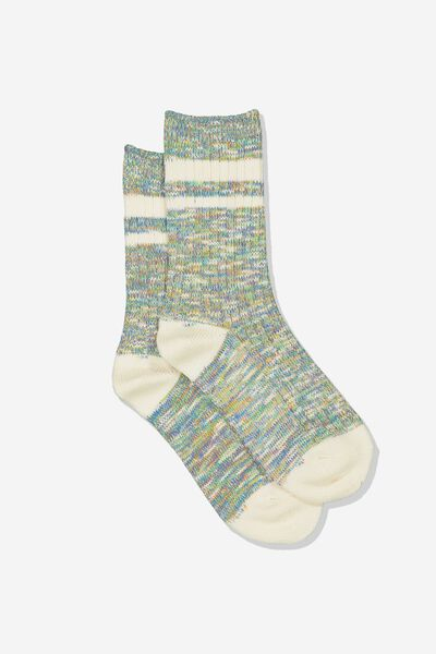 Hiking Sock, GREEN MIX/CREAM STRIPE
