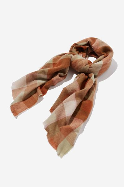 Millie Mid Weight Scarf, LEAF BROWN CHANTELLE CHECK