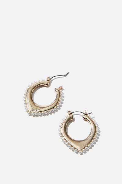 Luxe Layers Medium Brushed Pearly Hoop, GOLD