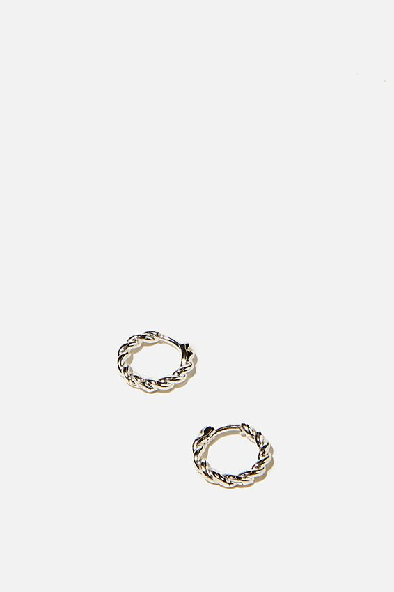 Ear Party Huggie Hoops, TWIST SILVER