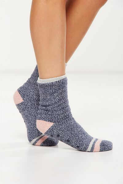 Loungin Round Sock, NAVY DOUBLE STRIPE