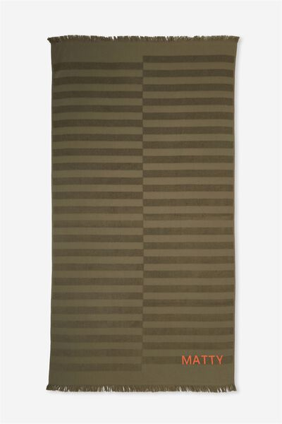 Personalised Love A Jacquard Towel, KHAKI STRIPE