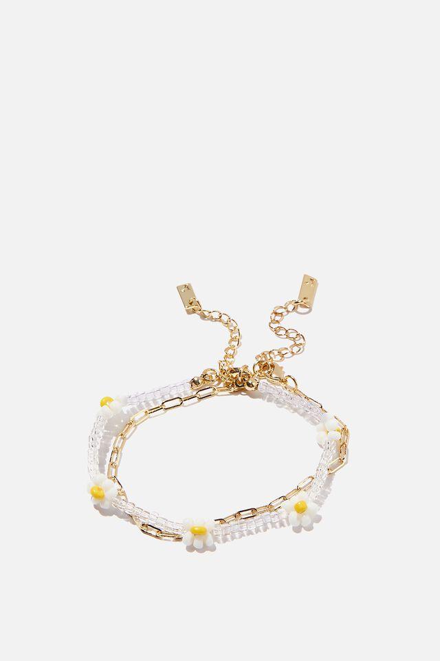 Premium 2Pk Bracelets, GOLD PLATED DAISY CHAIN