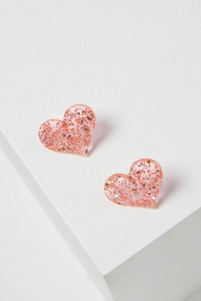 Mumbai Stud Earring, PINK HEART