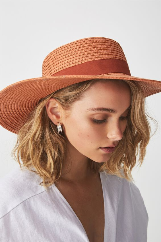 Ascot Boater Hat, RUST