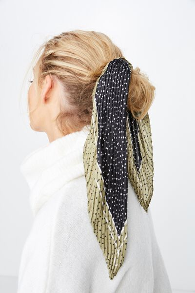 Soho Broadway Pleat Scarf, BLACK/BURNT OLIVE ABSTRACT SPOT