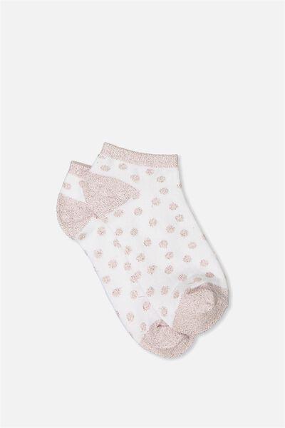 Get Shorty Ankle Sock, WHITE/BLUSH SPARKLE SPOT