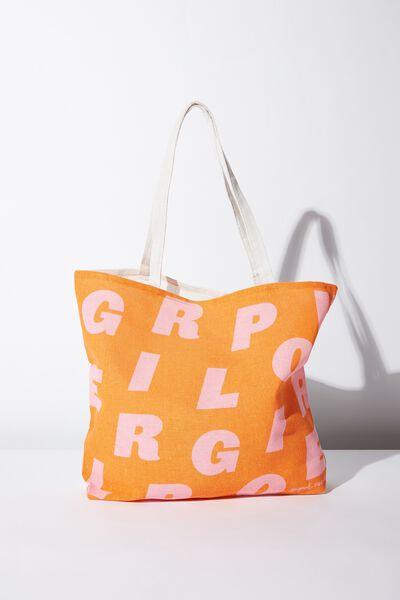 Supre Foundation Tote Bag, ORANGE GIRL POWER