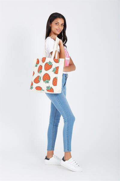 Foundation Tote Bag, STRAWBERRIES