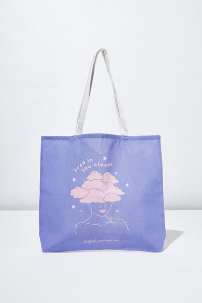 Supre Foundation Tote Bag, HEAD IN THE CLOUDS