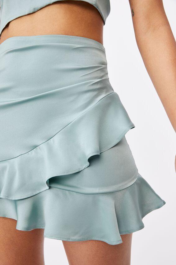 Celia Mini Frill Skirt Co Ord, SOFT MOSS