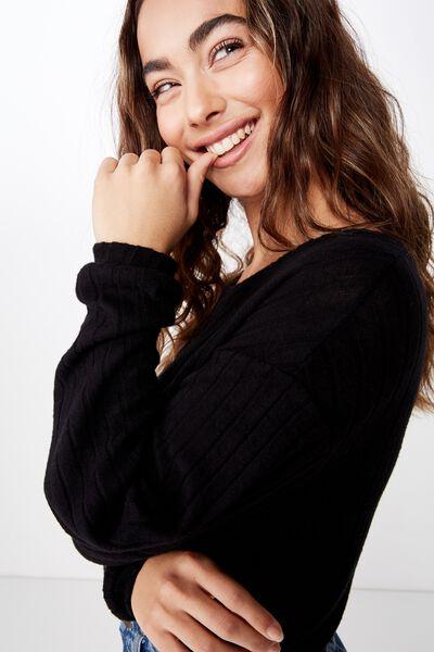 Priya Long Sleeve Rib Top, BLACK