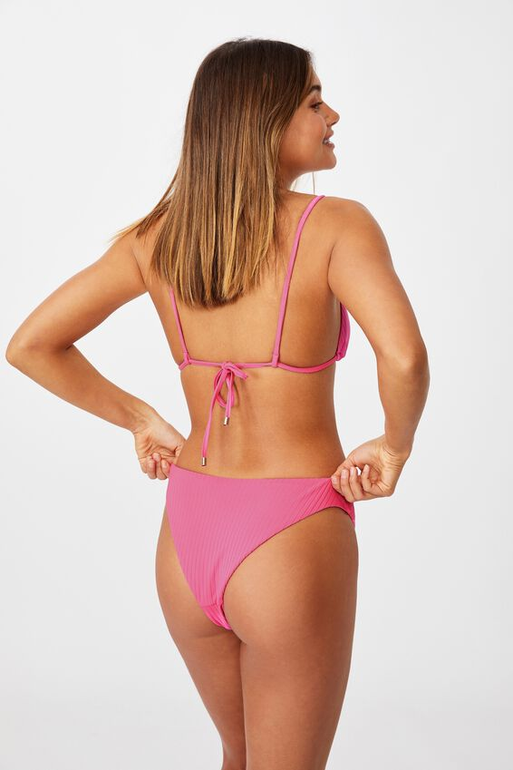 Maui Tri Slide Bikini Top, RASPBERRY ICE/WIDE RIB