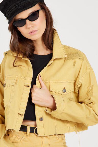 Cropped Destroy Denim Jacket, MARIGOLD