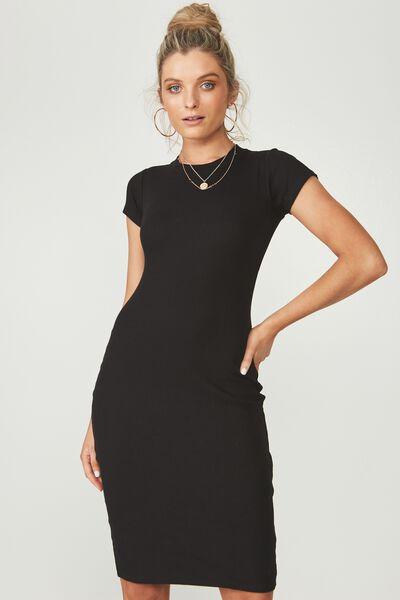 Rib Midi T-Shirt Dress, BLACK