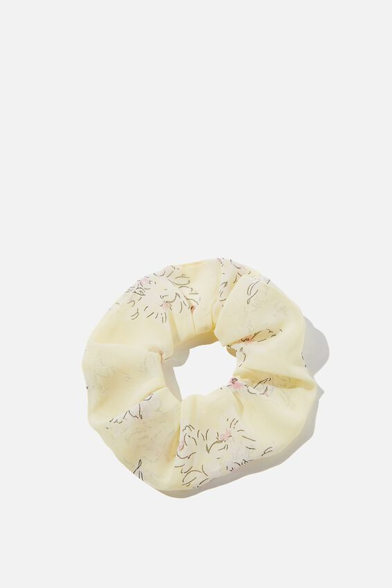 Flower Print Scrunchie, YELLOW FLORAL