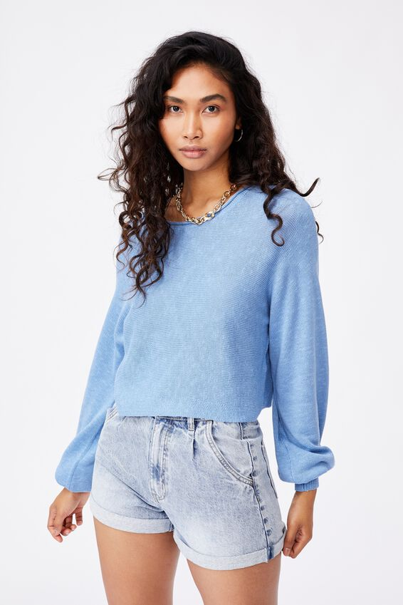 Holly Puff Sleeve Knit, CAROLINA BLUE