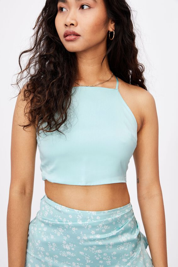 Gwen Tie Back Top Co Ord, REEF BLUE