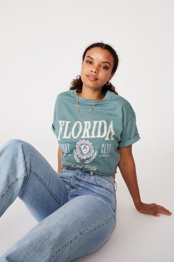 Florida Crop Tee, VINTAGE WASH CAMPER GREEN/FLORIDA SPORT