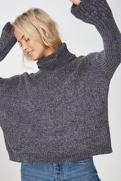 Tully Long Sleeve Chunky Knit, GRANITE GREY