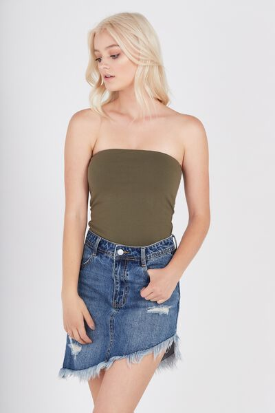 Basic Long Boobtube Built-In Bra, OLIVE NIGHT
