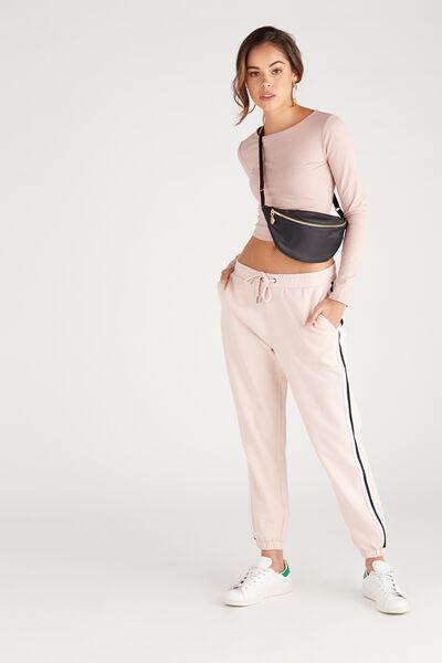 Basic Side Stripe Sweat Pant, BLUSH