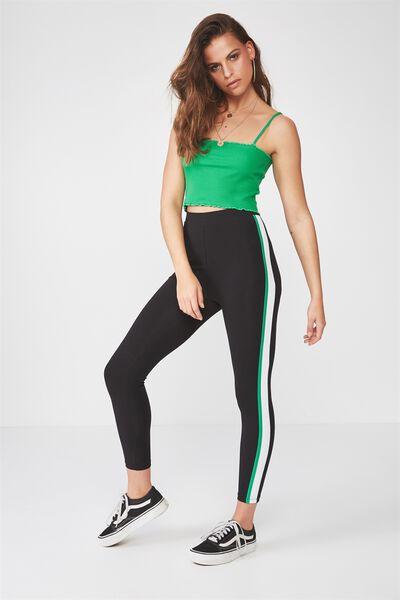 2 Colour Side Stripe Legging, BLACK/GREEN