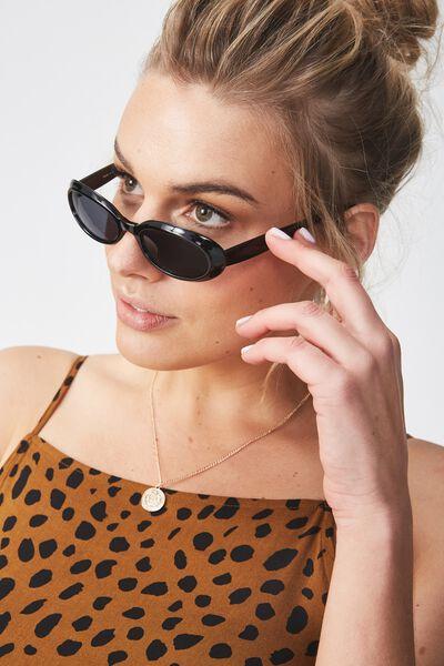 Tori Oval Sunglasses, BLACK