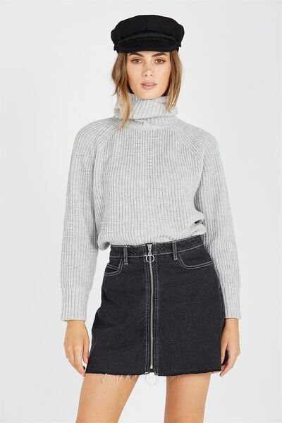 Mili Mid Length Roll Neck Knit Sweater, LIGHT GREY