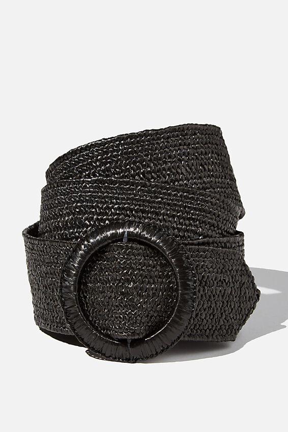 Circle Woven Belt, BLACK